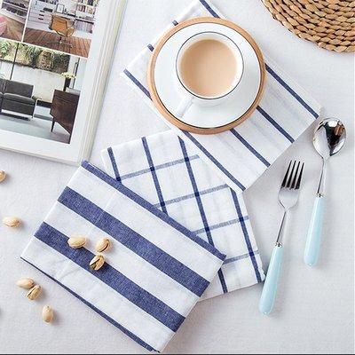 《Jami Honey》【JH1005】拍摄背景布道具 日式淡藍格子線條西餐餐巾 餐墊 桌布 桌墊 『不挑款』
