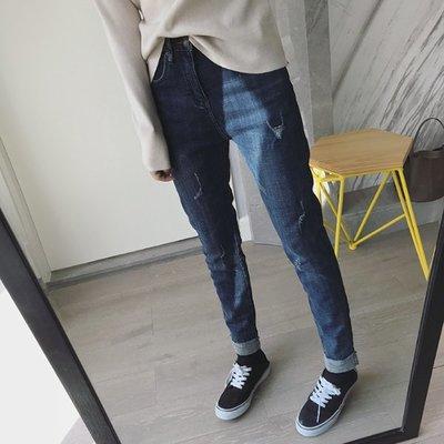 【Casi Cielo】181215韓 秋冬 禦寒 簡約百搭 內刷毛 柔軟 彈力牛仔褲 鉛筆褲 長褲(黑色 藍色)韓妮
