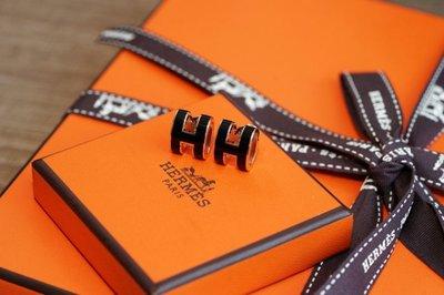 Hermes Boucles Oreilles Pop H Plaque H 耳環 黑/玫瑰金