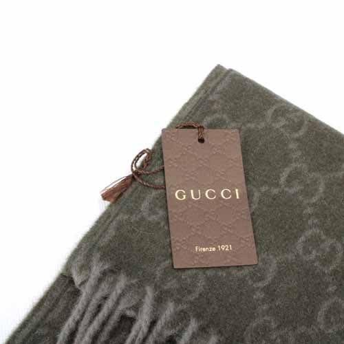 【姐只賣真貨】GUCCI 經典雙G-LOGO 100%百喀什米爾羊毛圍巾(綠色)_附原廠盒裝