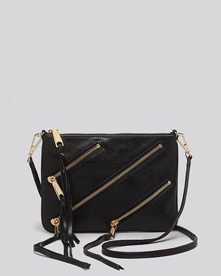 美國名牌Rebecca Minkoff  Crossbody專櫃款黑色皮革流蘇肩斜背包~現貨在美特價$3280含郵