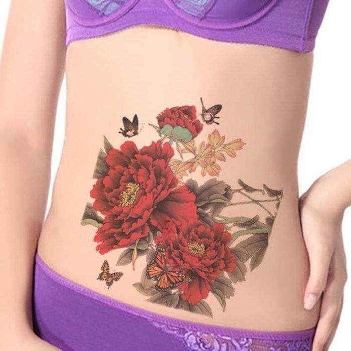 【萌古屋】大紅色牡丹花朵大圖 - 男女防水紋身貼紙刺青貼紙K38