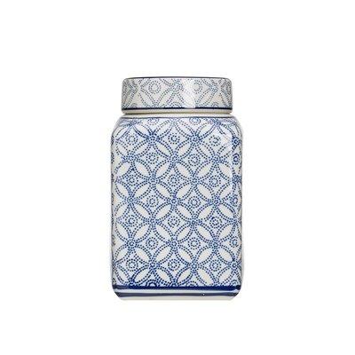 【Eze Art Deco】美國設計師傢飾,藍白圖案陶瓷裝飾置物罐,中號 收納罐/造型罐/糖果罐/擺飾/置物罐/儲物罐