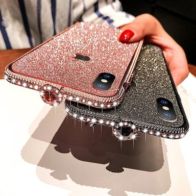 小胖 iPhone XS MAX 奢華寶石水鑽扣閃鑽邊框閃粉手機殼 蘋果 6s 7/8Plus 閃耀抗震防摔保護邊框套