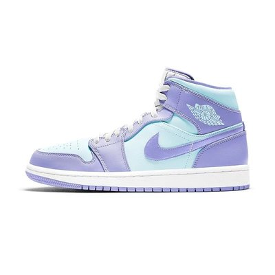沃皮斯§Air Jordan 1 Mid Purple Aqua (GS) 藍紫 女款 554725-500