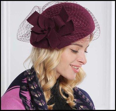 【Fashion歐洲站】帽子女秋冬季貝雷帽女英倫毛呢禮帽花朵蓓蕾帽子羊毛純色畫家帽子