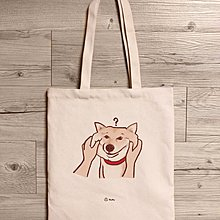 《柴犬-捏臉》 肩背帆布包 / 帆布袋 / 蒼蠅星球 / 毛小孩 // 手創市集