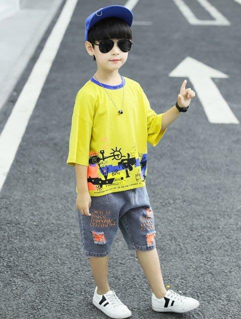 •*~ 辣媽咪衣飾小舖 ~*•❤童裝系列📣K960203韓版大童夏款酷炫帥氣潮個性短袖上衣+短褲套裝