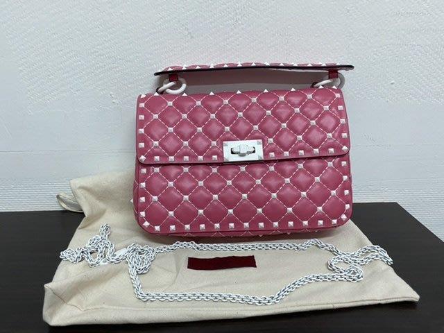 Valentino rockstud spike medium Pink范倫鐵諾鏈包 手拿包