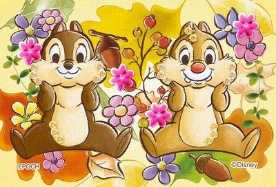 日本進口拼圖 迪士尼 奇奇 蒂蒂 花栗鼠 Chip 'n' Dale 70片布面拼圖附珠飾 70-030