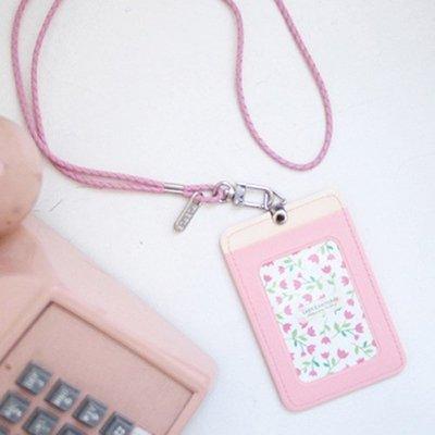 ♀高麗妹♀韓國 PLEPLE CARDCASE 那些花兒 悠遊卡/各式卡片 萬用皮革卡夾&活動式頸繩(4色選)預購