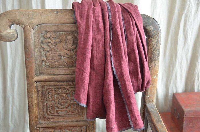 (老銀屋)復古百搭邊線撞色大圍巾