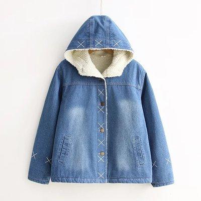 【預購】可愛牛仔鋪棉保暖牛仔外套,女生款學生風連帽羊羔絨保暖外套小棉衣,個性時尚保暖舒適有版型挺,穿上馬上變年輕唷~
