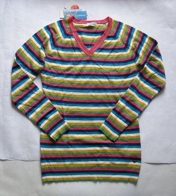 美國正品ROXY女長袖V領彩色長版毛衣(編號0569)~M