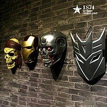 鋼鐵人海盜變行金鋼小丑盔甲面具牆飾壁飾掛件創意酒吧咖啡(多款可選)