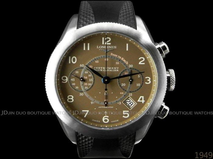 金鐸精品~1949 LONGINES 浪琴極速系列 騎士 自動上鍊計時男錶