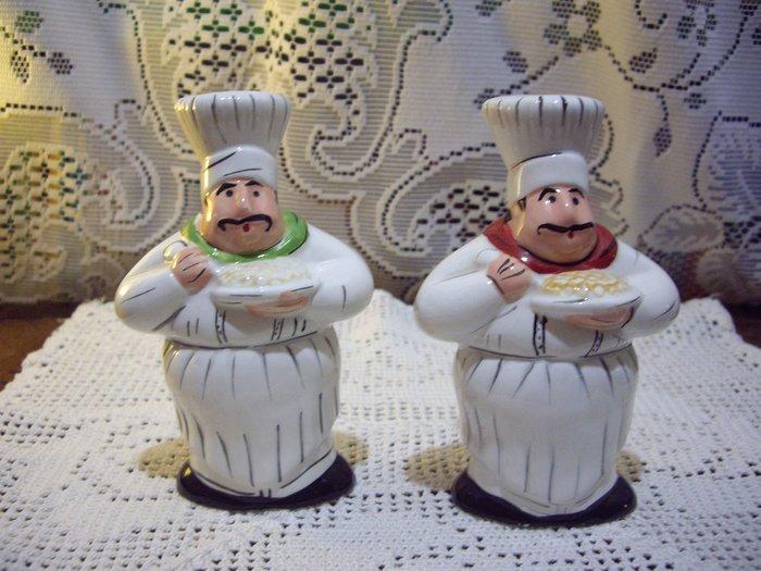 歐洲古物時尚雜貨 廚師公仔造型 調味罐 擺飾品 古董收藏 一組2件