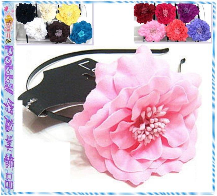 ☆POLLY媽☆NORDSTROM LULU粉紅、黃、黑、紫紅…12色棉質大花朵黑色烤漆金屬細版髮箍