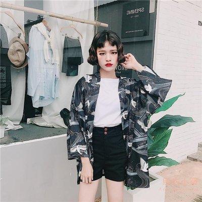 夏裝新款日式和風羽織仙鶴古著寬鬆雪紡開衫女和服防曬衣外套   全館免運
