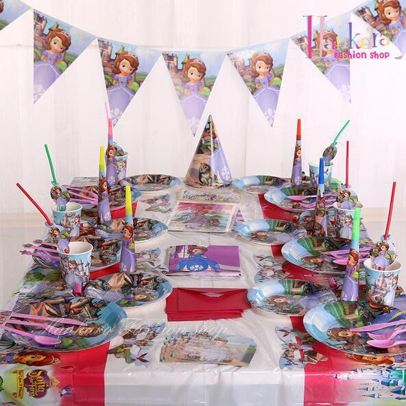 ☆[Hankaro]☆ 兒童生日派對用品主題套裝氣氛布置道具紫色蘇菲亞小公主(6人套裝)