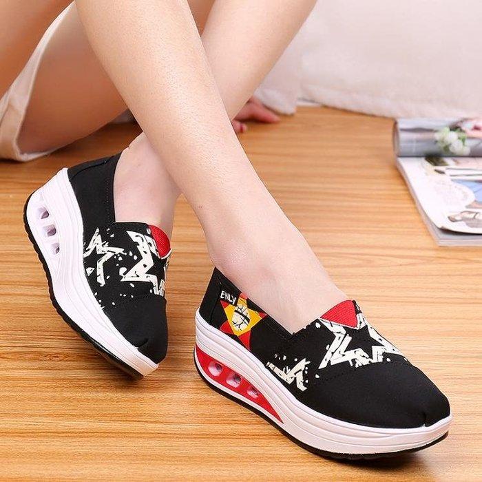 韓版帆布懶人鞋 低幫氣墊搖搖鞋 鬆糕厚底鞋XSM1596