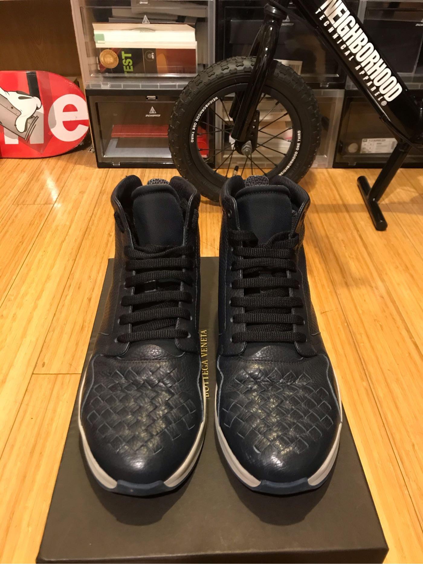 BottegaVenetta BV sneaker 高筒皮革運動鞋 免稅購入 EU42 極少穿11000 原價22150