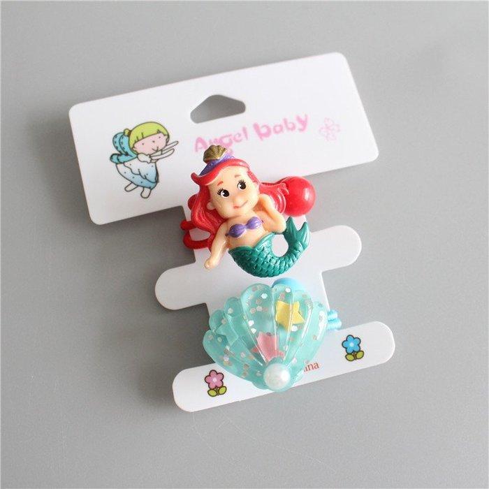 ☆草莓花園☆C141美人魚和貝殼髮繩 兒童髮飾 拍照攝影頭飾髮飾