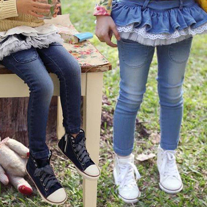 [千金小公主]  近全新  正韓  Pink Ideal 荷葉蕾絲紗刷白淺藍牛仔褲裙 13碼