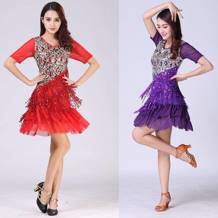 【優作坊】0842網紗亮片流蘇洋裝、拉丁舞衣、國標舞衣、禮服、舞台表演主持