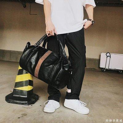 好物多商城 大容量時尚短途潮男旅行包行李包 新款皮質青年手提包健身單肩包