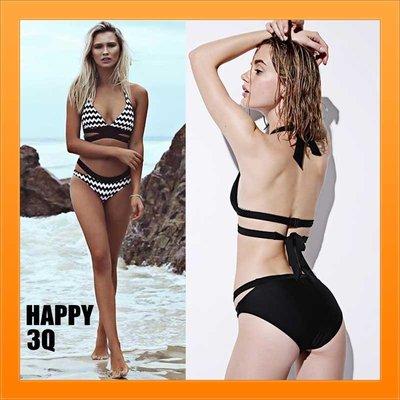 兩件式比基尼兩件式泳衣泳裝游泳交叉泳衣圖騰泳衣歐美風泳衣沙灘海灘性感-黑/黑白S-L【AAA1884】預購