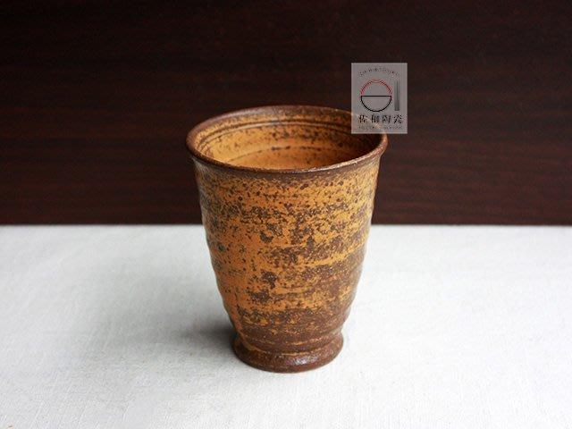 +佐和陶瓷餐具批發+【XL080412-11 茶釉手造手握杯-日本製】日本製 手握杯 手造杯 土物杯 水杯 茶杯