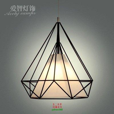 【美學】簡約美式鉆石鐵藝鳥籠吊燈復古餐吊燈臥室燈工程吊燈MX_222