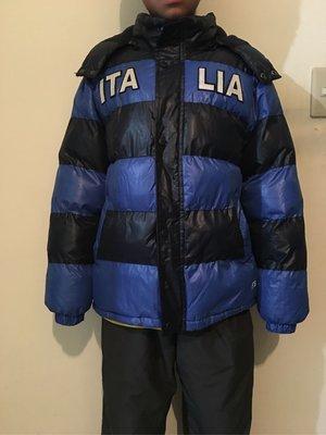 二手男童裝 大童 藍色條紋ITALIA鋪棉加絨連帽外套 140cm-155cm可穿,可面交