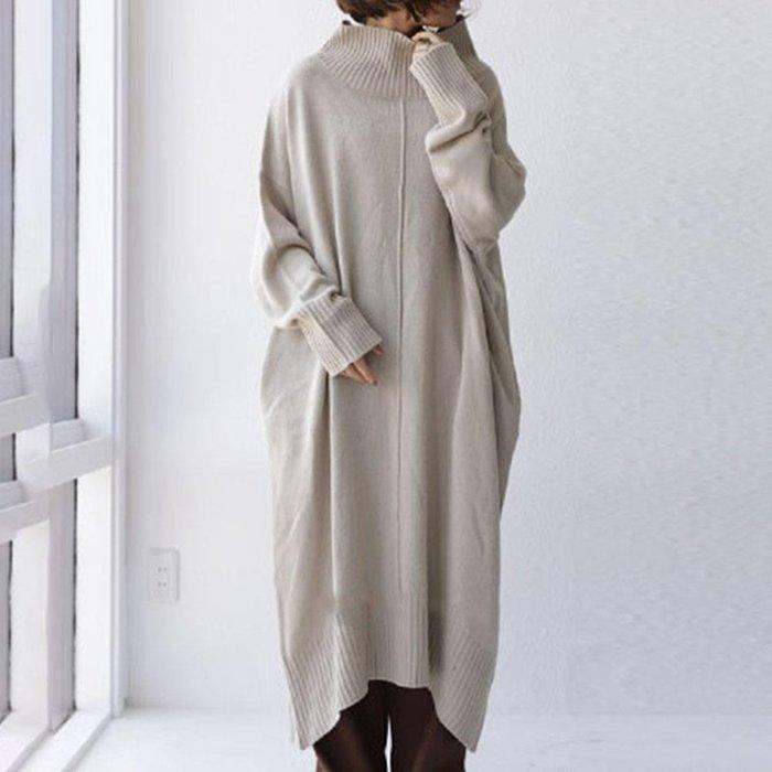 SEYES 好好看的2色針織毛衣長版高領落肩設計感洋裝