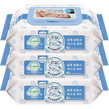 貝恩嬰兒保養柔濕巾EDI80抽*3包-無香料(臉、臀、全身適用)【TwinS伯澄】公司正品