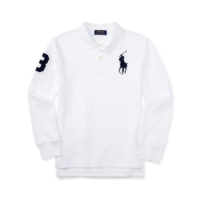 美國百分百【全新真品】Ralph Lauren 大馬 Polo衫 RL 長袖 上衣 白色 深藍馬 XS S號 A154