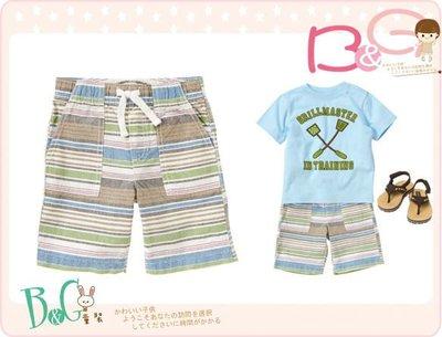 【B& G童裝】正品美國進口Crazy8 Pull-On Stripe Short 藍灰色條紋短褲2yrs