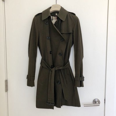 Burberry Dark Olive Green Short Double Breasted Trench Coat
