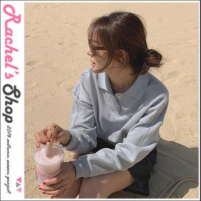 韓國空運*cherrykoko POLO衫領落肩設計純棉大學T/衛衣[CK-CB02HWTE12]Rachel's Shop