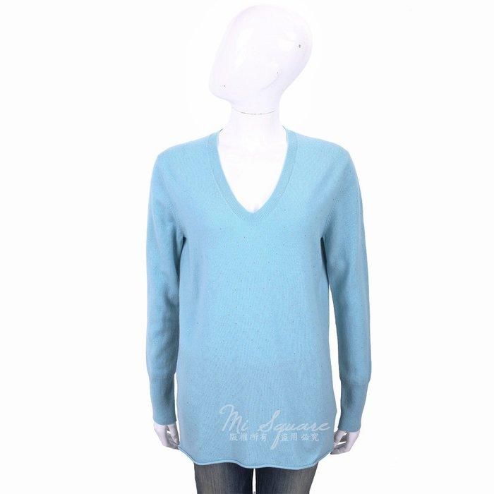 米蘭廣場 ALLUDE 喀什米爾天藍色星空鑽飾V領針織羊毛衫 1740244-16