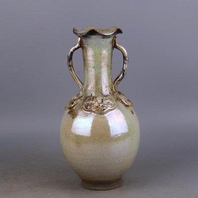 【三顧茅廬 】唐代銀光窯金銀釉堆花雙耳花口瓶 出土文物古瓷器手工瓷古玩收藏