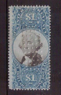 【珠璣園】W263 美國郵票 - 1872 $1 二版印花稅票,( PUNCH CANCEL )
