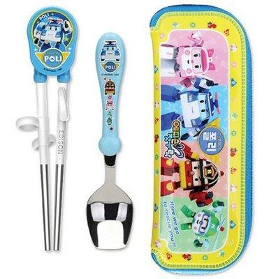 【預購】韓國正品兒童餐具 Poli 救難小英雄波利波力 筷子+湯匙+餐包=不鏽鋼餐具組  安寶/赫利/羅伊