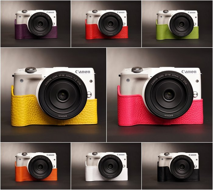 TP真皮 EOS M3(MIII) Canon 真皮相機底座 頭層進口牛皮,愛馬仕風格 相機包 底座皮套 艷麗上市