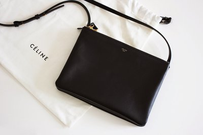 Celine 165113 Trio Bag 小型三層羊皮斜背包 黑色 預購