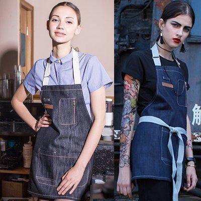 【職業裝】CK7349*織帶掛脖短款牛仔圍裙時尚咖啡店西餐廳美術繪畫牛仔掛脖圍裙男女酒吧工作圍裙