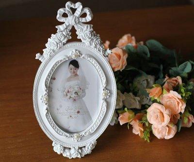 粉紅玫瑰精品屋~田園白色樹脂相框4*6...
