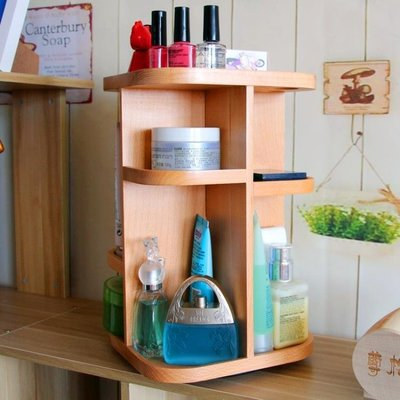 KELEPOPO 韓式實木旋轉化妝品收納盒360度護膚桌面收納柜梳妝臺收納架木質