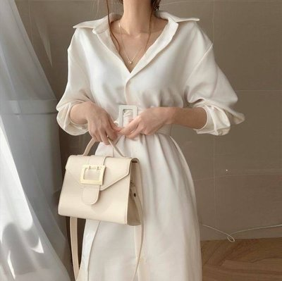 PapaDarling 20SS正韓氣質簡約寬鬆腰帶中長款襯衫裙 連身裙 深藍色 白色